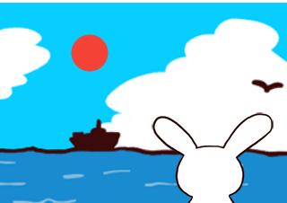 4コマ漫画「うさぎ君、いいサン(太陽)の日」の2コマ目