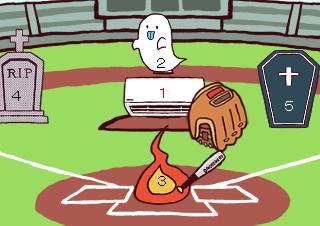 4コマ漫画「おかしい野球」の1コマ目