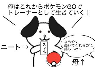 4コマ漫画「ポケモンGOでトレーナーに俺はなる」の1コマ目