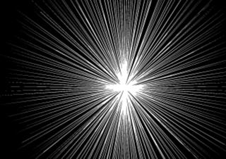 4コマ漫画「光の先には何が待っている」の1コマ目