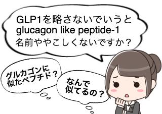 4コマ漫画「グルカゴン様ペプチド-1?ややこしい」の1コマ目