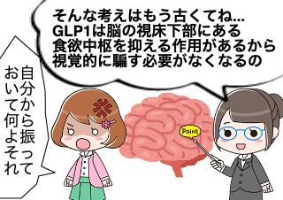 4コマ漫画「GLP1は食欲中枢をコントロールする」の3コマ目