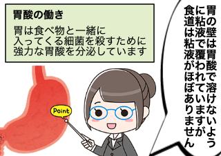 4コマ漫画「逆流性食道炎がおこるメカニズム」の1コマ目