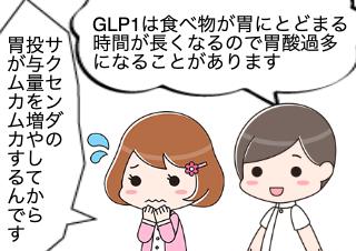 4コマ漫画「GLP1で胃酸過多になったとき」の1コマ目