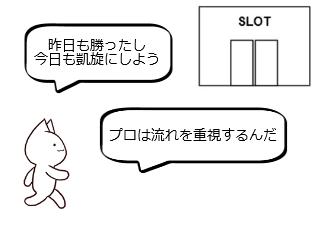 4コマ漫画「10日後に破綻するネコ~2日目~」の1コマ目