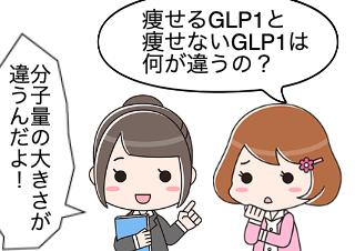 4コマ漫画「やせるGLP1 と やせないGLP1」の1コマ目