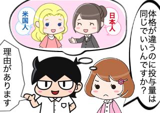 4コマ漫画「米国人と日本人、同じ投与量の理由」の1コマ目