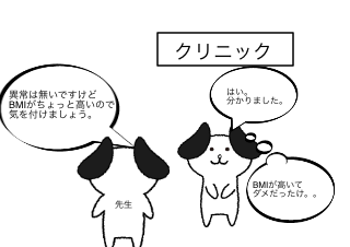 4コマ漫画「健康診断日」の2コマ目