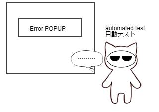 4コマ漫画「Test automation」の1コマ目