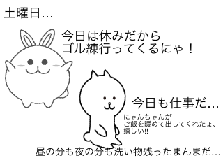 4コマ漫画「マイペースな猫さん」の2コマ目