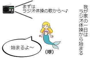 4コマ漫画「11.ラジオ体操」の1コマ目