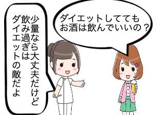 4コマ漫画「お酒の飲み過ぎはダイエットの敵!」の1コマ目