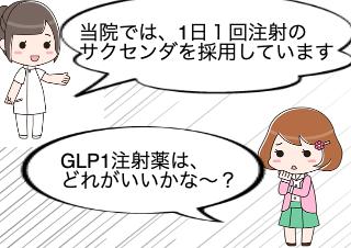 4コマ漫画「GLP1注射薬どれがいい!?」の1コマ目