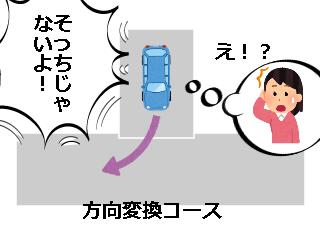 4コマ漫画「方向変換は車庫入れじゃない」の1コマ目