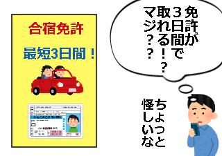 4コマ漫画「3日間で免許が取れる合宿免許」の1コマ目