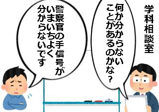 4コマ漫画「警察官の手信号の覚え方」の1コマ目