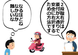 4コマ漫画「原付の4段階左折!?」の1コマ目