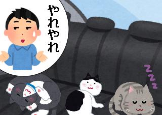 4コマ漫画「猫だらけの教習所」の4コマ目