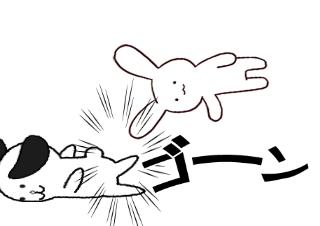 4コマ漫画「バトル」の2コマ目