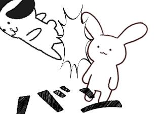 4コマ漫画「バトル」の3コマ目