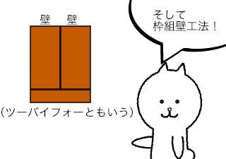4コマ漫画「木造住宅の作り方」の3コマ目