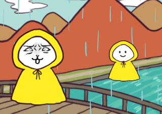 4コマ漫画「てるてるぼうず会議」の3コマ目