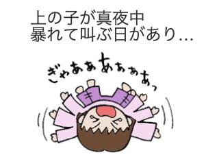 4コマ漫画「夜驚症??」の1コマ目