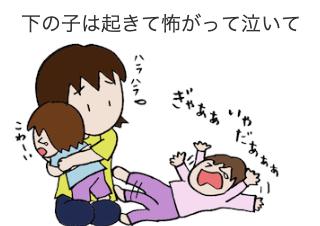 4コマ漫画「夜驚症??」の2コマ目