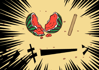 4コマ漫画「海に来たから、スイカ割り【4コマ♯8】」の3コマ目