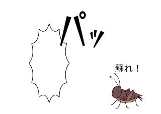 4コマ漫画「蘇生コオロギ」の3コマ目